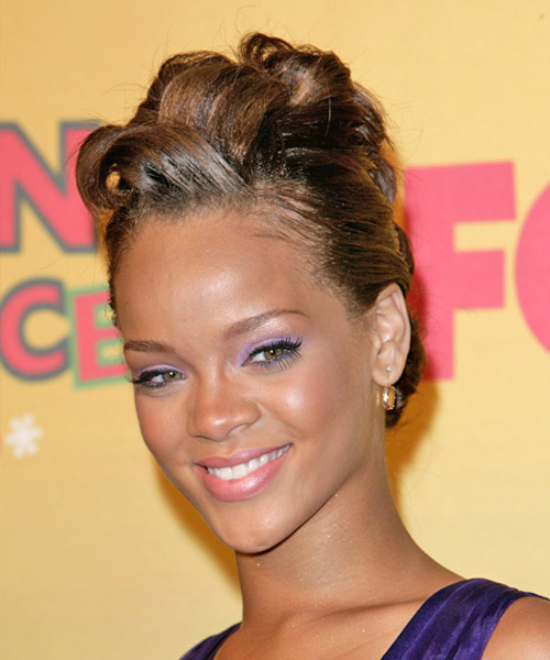 Rihanna  Long Straight   Light Golden Brunette  Updo    - Side on View