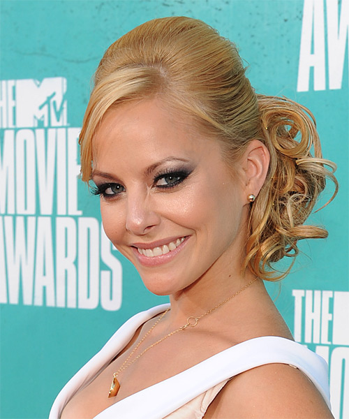 Amy Paffrath  Long Curly Formal   Updo Hairstyle with Side Swept Bangs  -  Golden Blonde Hair Color - Side on View