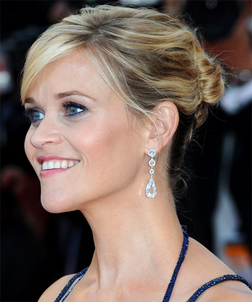 Reese Witherspoon  Long Straight Formal   Updo Hairstyle with Side Swept Bangs  - Light Blonde and  Brunette Two-Tone Hair Color - Side on View