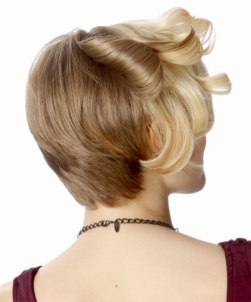 Short Curly Formal    Hairstyle   - Light Blonde and Dark Blonde Two-Tone Hair Color - Side on View