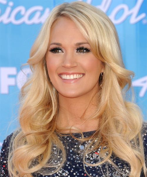 Carrie Underwood Long Wavy   Light Honey Blonde   Hairstyle   - Side on View