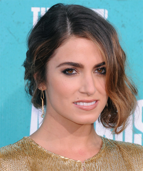Nikki Reed  Medium Curly    Caramel Brunette  Updo    - Side on View