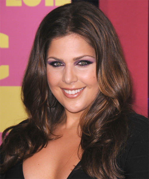 Hillary Scott Long Straight Formal   Hairstyle   - Medium Brunette - Side on View