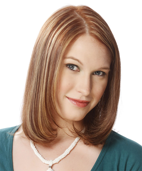 Medium Straight Layered   Brunette Bob  Haircut   with Light Blonde Highlights - Side on View
