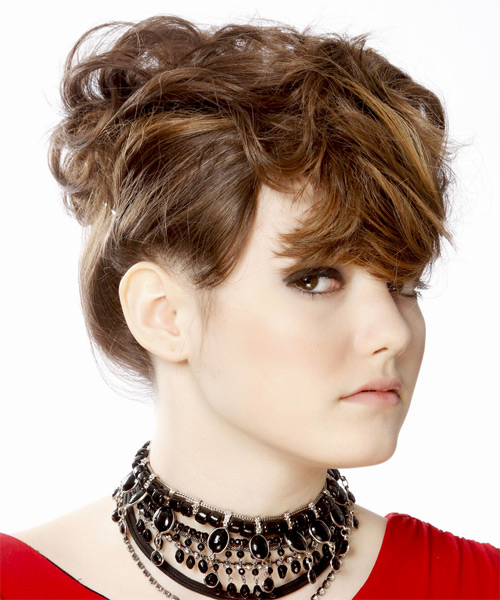 Updo Medium Straight Formal  Updo Hairstyle   - Medium Brunette - Side on View
