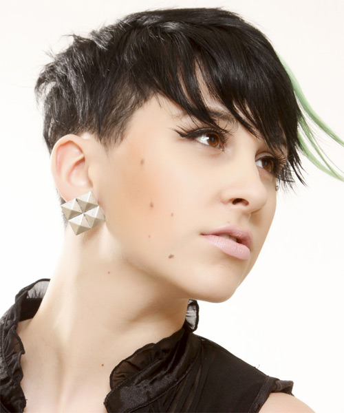 Short Straight Alternative  Emo  Hairstyle with Side Swept Bangs  - Black Ash  Hair Color with Green Highlights - Side on View