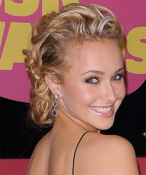 Updo Long Curly Formal Updo  - Dark Blonde (Honey) - Side on View