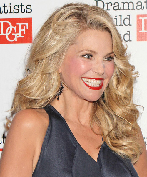 Christie Brinkley Long Wavy Formal   Hairstyle   - Side on View