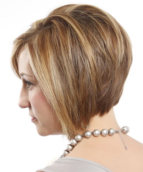 Short Straight Formal Layered Bob  Hairstyle with Side Swept Bangs  - Dark Blonde Hair Color with Light Blonde Highlights - Side on View