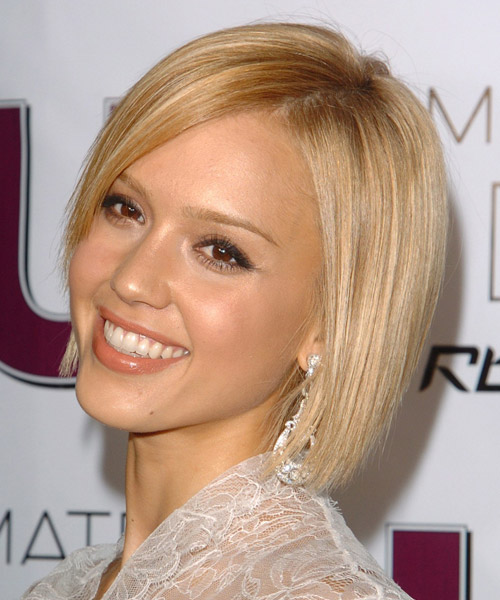 Jessica Alba Medium Straight Formal Bob  Hairstyle with Side Swept Bangs  - Light Blonde - Side on View
