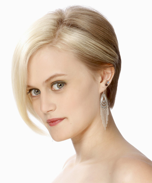 Short Straight Formal Bob  Hairstyle   - Light Blonde (Platinum) - Side on View