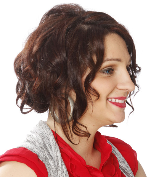 Medium Curly Casual   Updo Hairstyle   - Medium Brunette Hair Color - Side on View
