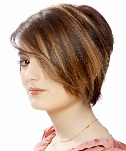 Short Straight Layered  Light Brunette Bob  Haircut with Side Swept Bangs  and Dark Brunette Highlights - Side on View