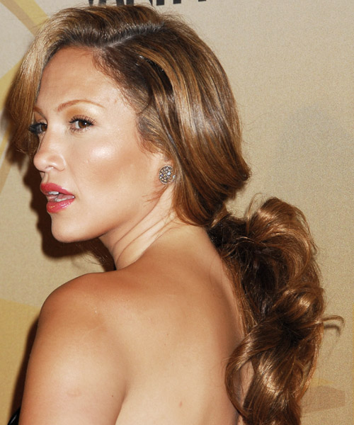 Jennifer Lopez  Long Curly Formal   Updo Hairstyle   -  Golden Brunette Hair Color - Side on View