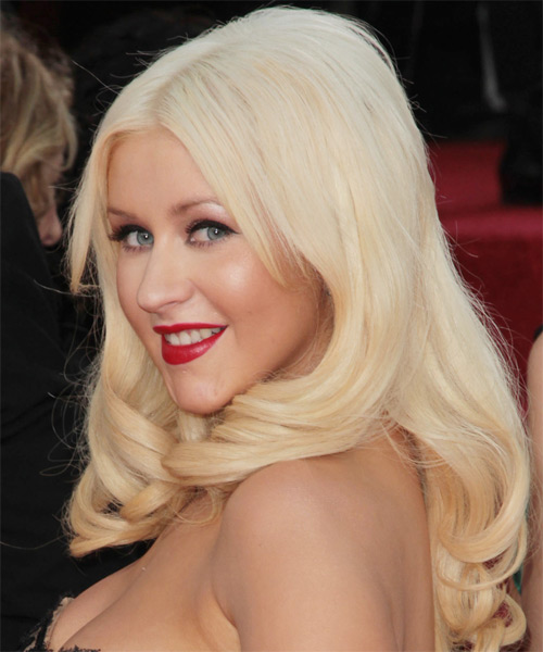 Christina Aguilera Long Straight Formal   Hairstyle   - Light Blonde (Platinum) - Side on View