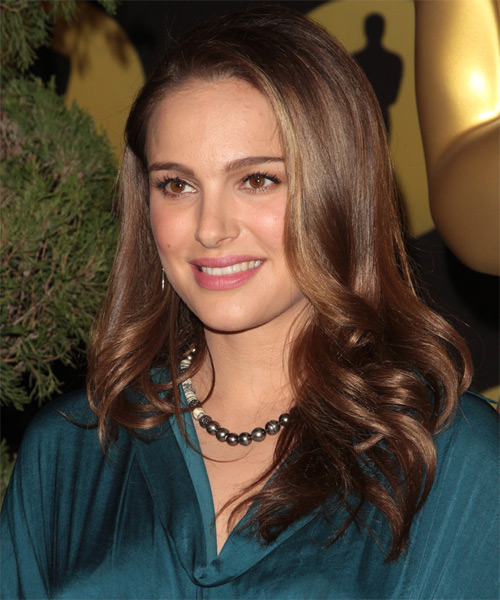Natalie Portman Long Straight Formal    Hairstyle   - Medium Chestnut Brunette Hair Color - Side on View