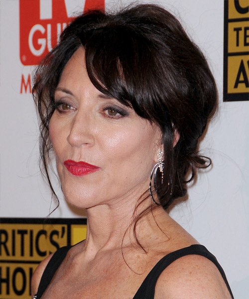 Katey Sagal Updo Long Curly Casual  Updo Hairstyle with Side Swept Bangs  - Black - Side on View