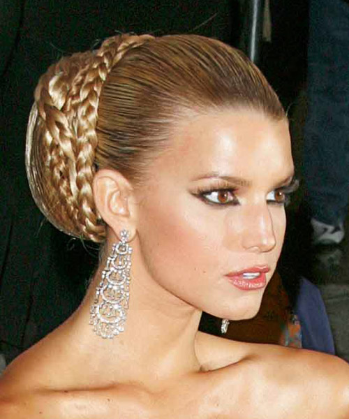 Jessica Simpson  Long Straight    Updo    - Side on View