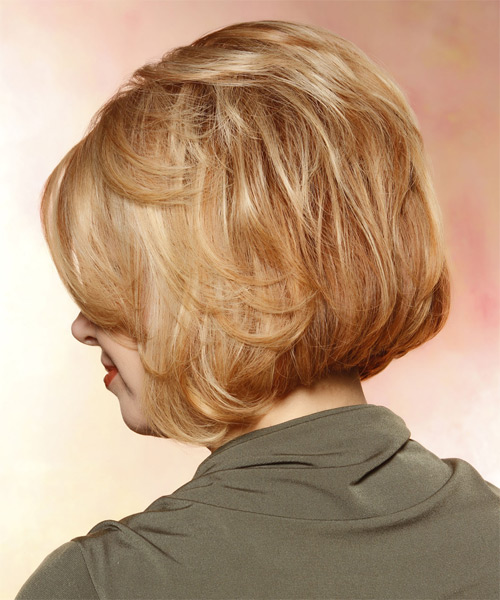 Short Straight Layered  Light Strawberry Red Bob  Haircut with Side Swept Bangs  and Light Blonde Highlights - Side on View