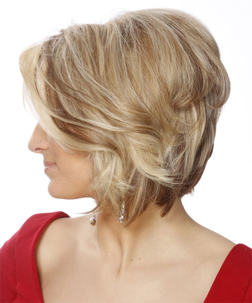Short Straight Casual  Bob  Hairstyle   - Light Blonde Hair Color with Medium Brunette Highlights - Side on View