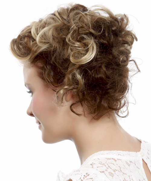 Medium Curly   Light Blonde and  Brunette Two-Tone  Updo    - Side on View