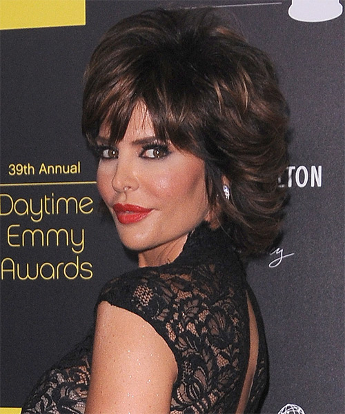 Lisa Rinna Short Straight Formal    Hairstyle with Layered Bangs  - Dark Brunette Hair Color with Dark Blonde Highlights - Side on View