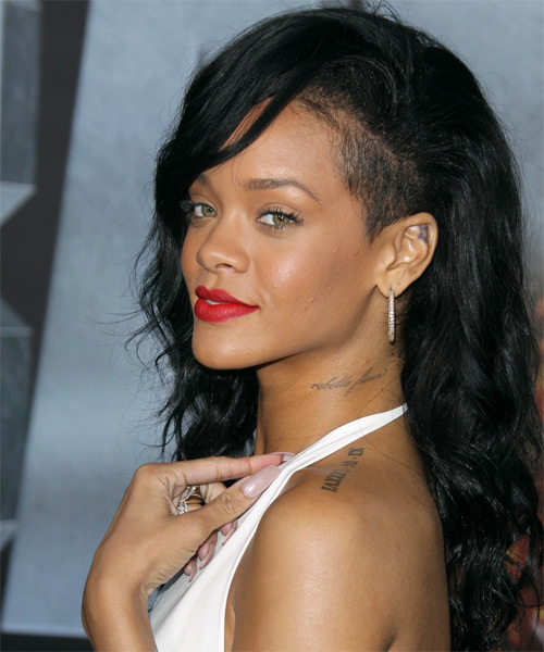 Rihanna Long Wavy   Black    Hairstyle   - Side on View