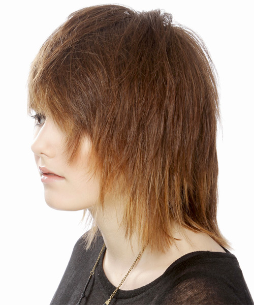 Medium Straight Casual  Emo  Hairstyle with Side Swept Bangs  - Light Auburn Brunette Hair Color with Light Blonde Highlights - Side on View