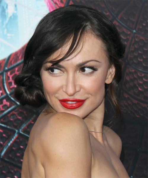 Karina Smirnoff Updo Long Straight Formal Wedding Updo Hairstyle with Side Swept Bangs  - Black - Side on View