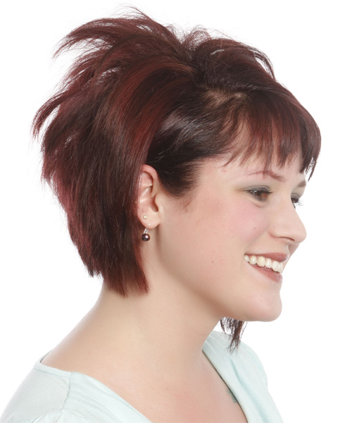 Short Straight Casual Bob  Hairstyle with Razor Cut Bangs  (Burgundy) - Side on View