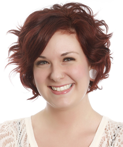Short Wavy   Dark Auburn Red   Hairstyle with Side Swept Bangs  - Side on View