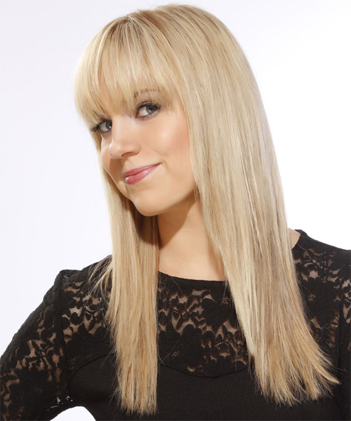 Long Straight   Light Golden Blonde   Hairstyle with Blunt Cut Bangs  and  Blonde Highlights - Side on View