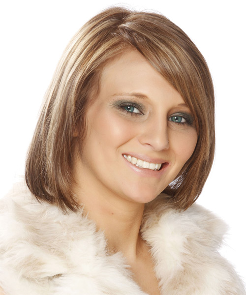Medium Straight Formal  Bob  Hairstyle with Side Swept Bangs  - Light Auburn Red Hair Color with Light Blonde Highlights - Side on View