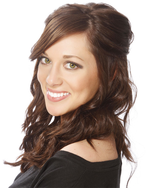 Long Curly   Dark Brunette  Half Up Hairstyle with Side Swept Bangs  and  Brunette Highlights - Side on View