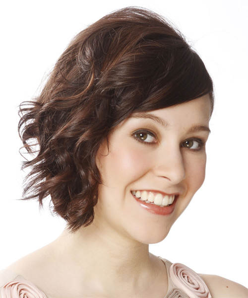 Short Wavy Casual   Hairstyle   - Medium Brunette - Side on View