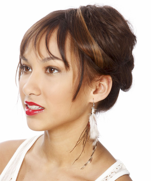 Long Straight    Chocolate Brunette  Updo  with Blunt Cut Bangs  and Dark Brunette Highlights - Side on View