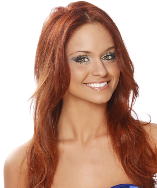 Long Straight    Copper Red   Hairstyle   - Side on View