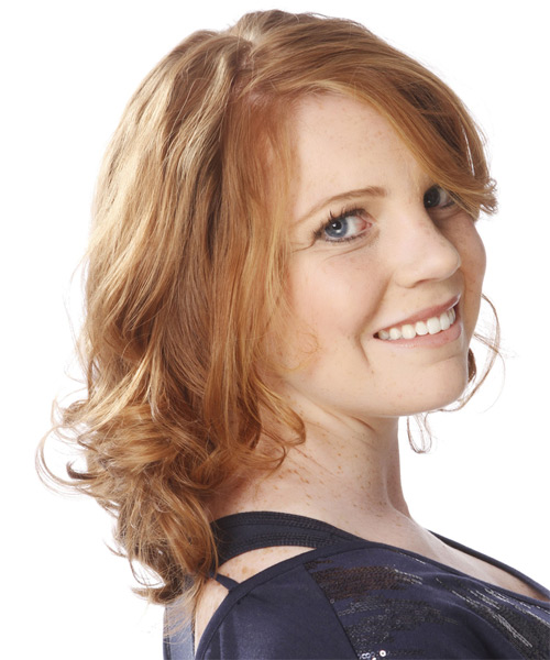 Medium Wavy Formal    Hairstyle   - Light Copper Red Hair Color - Side on View
