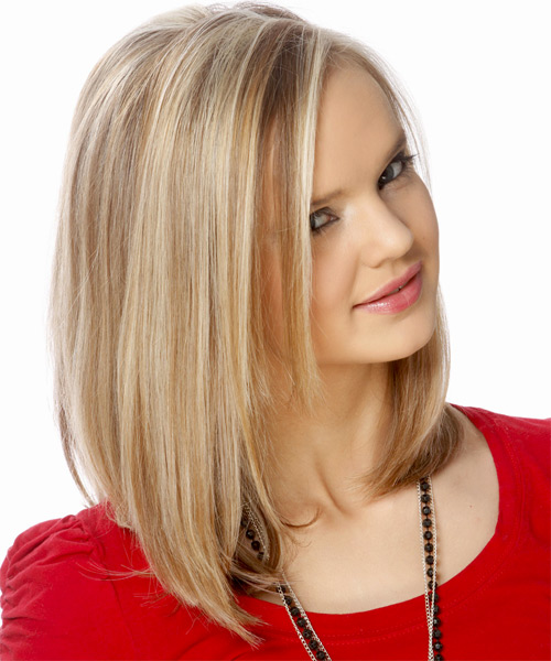 Medium Straight Formal Bob  Hairstyle   - Light Blonde (Ash) - Side on View