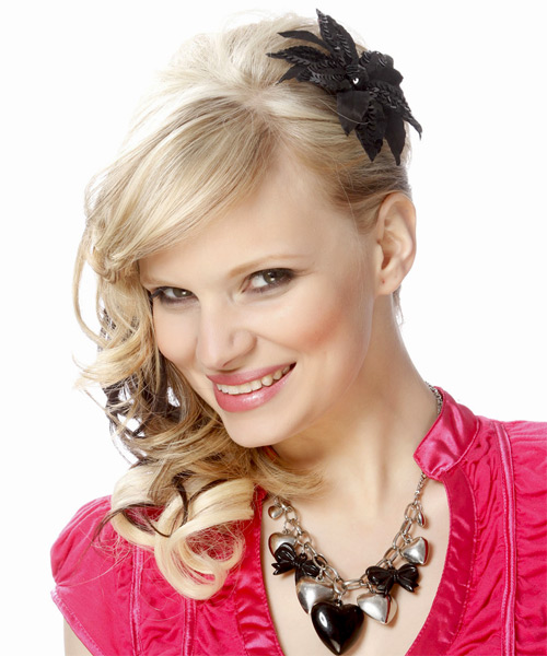 Half Up Long Curly Formal  Half Up Hairstyle with Side Swept Bangs  - Light Blonde (Platinum) - Side on View
