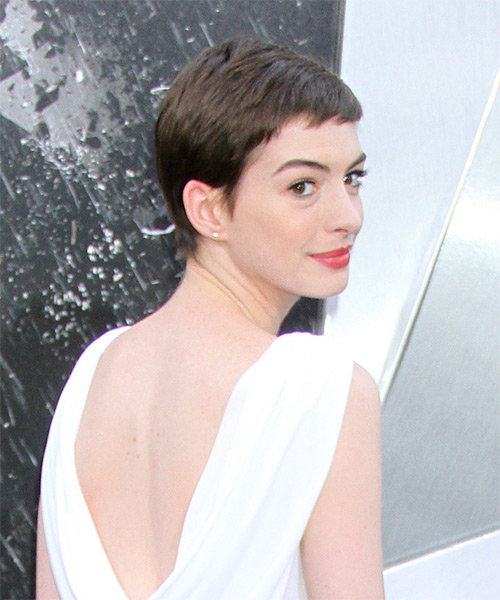 Anne Hathaway Short Straight Casual Layered Pixie  Hairstyle with Side Swept Bangs  - Dark Mocha Brunette Hair Color - Side on View