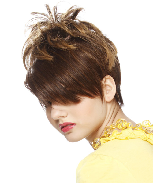 Short Straight Alternative  Emo  Hairstyle with Side Swept Bangs  - Medium Chestnut Brunette Hair Color - Side on View
