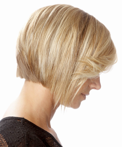 Medium Straight   Light Golden Blonde Bob  Haircut with Side Swept Bangs  and Light Blonde Highlights - Side on View