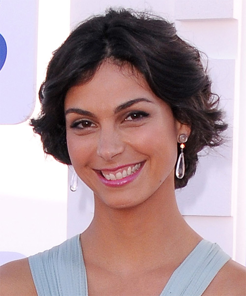 Morena Baccarin Short Wavy Casual Layered Bob  Hairstyle   - Black  Hair Color - Side on View