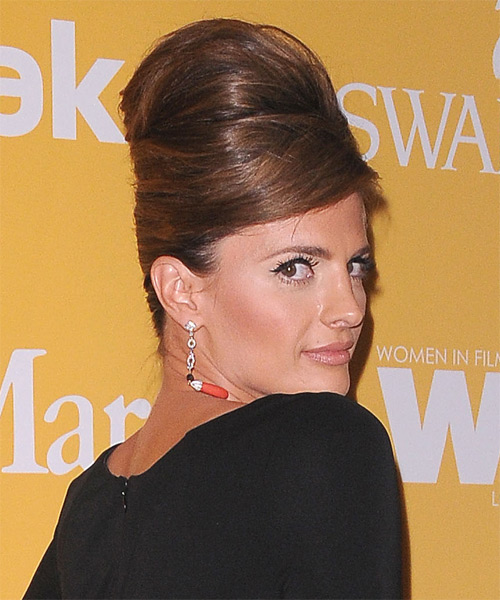 Stana Katic Updo Long Straight Formal Wedding Updo Hairstyle with Side Swept Bangs  - Dark Brunette (Chocolate) - Side on View