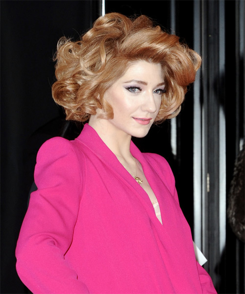 Nicola Roberts Short Curly Formal Layered Bob  Hairstyle   - Light Copper Red Hair Color - Side on View