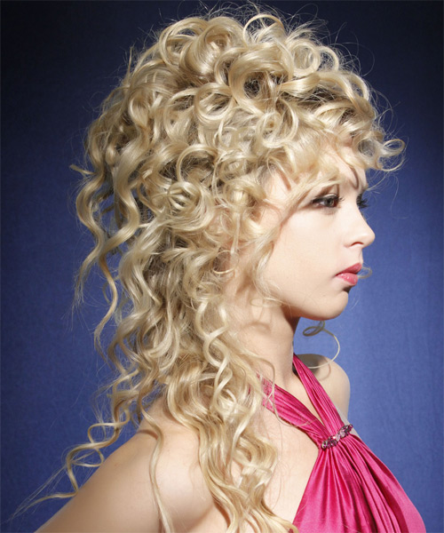 Long Curly Formal   Updo Hairstyle   - Light Champagne Blonde Hair Color - Side on View