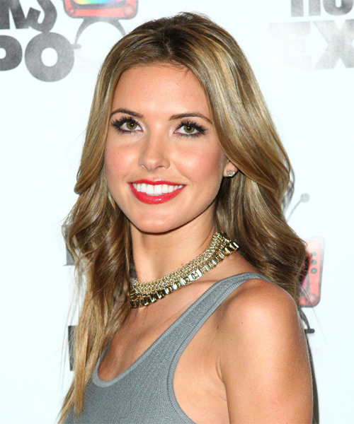 Audrina Patridge Long Wavy Casual    Hairstyle   - Medium Blonde Hair Color with Light Blonde Highlights - Side on View