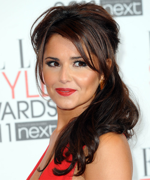 Cheryl Cole  Long Straight Casual   Half Up Hairstyle with Side Swept Bangs  - Dark Mocha Brunette Hair Color - Side on View