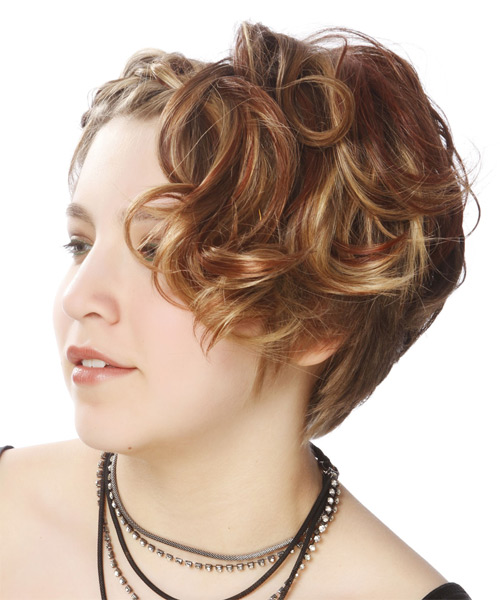Updo Medium Curly Casual Braided Updo Hairstyle   - Medium Brunette - Side on View